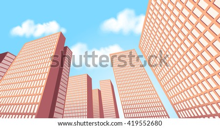 Big city landscape with tall buildings. Skyscrapers. - stock vector