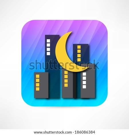 big city night icon - stock vector