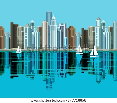 Big city. Skyscrapers stand on the beach and reflected in the water - stock vector
