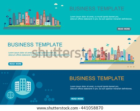 Big City, Small Town and Village. Modern Horizontal Banner and Header Template. Flat Design Concept.  - stock vector