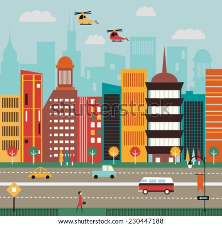 Big City street. Vector - stock vector
