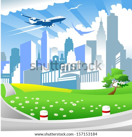 big city with tall buildings and airplane flying in the sky - stock vector