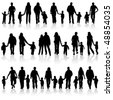 Big collect vector silhouettes of parents with children, element for design - stock vector