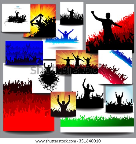 Big collection banners for sports championships and concerts multicolored - stock vector