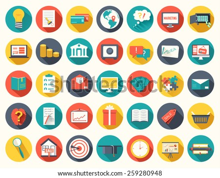 Big collection business, education, online training, marketing  background concept. Vector illustration for colorful template for you design, web and mobile applications. - stock vector