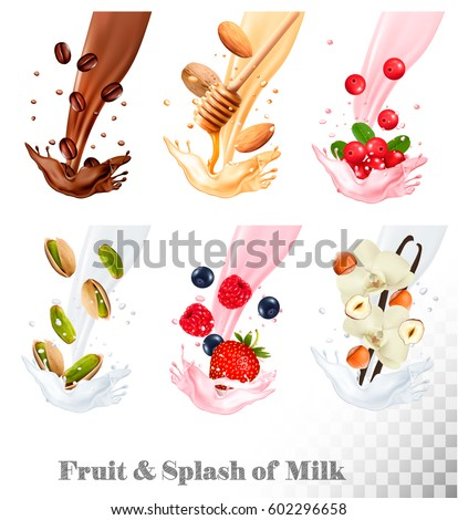 Big collection icons of fruit in a milk splash. Coffee, nuts, cranberry, raspberry, strawberry, almond, blueberry, honey, vanilla. Vector Set