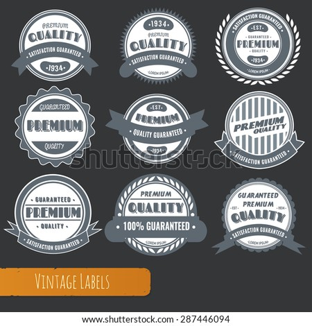 Big collection of black-and-white vintage style labels for sales, trade and business.