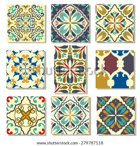 Big Collection of 9 ceramic tiles - patterns, blue-orange style - stock vector
