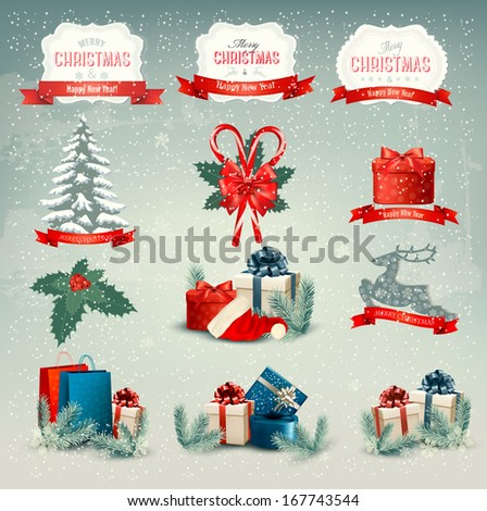 Big collection of Christmas icons and design elements. Vector illustration  - stock vector