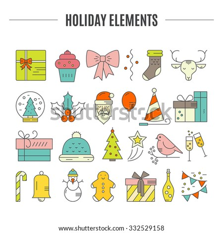 Big collection of Christmas icons. Colored Christmas symbols including snowman, Santa Claus, presents, Christmas tree. Vector icons.