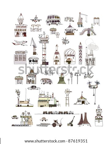 Big collection of city symbols and transport - stock vector