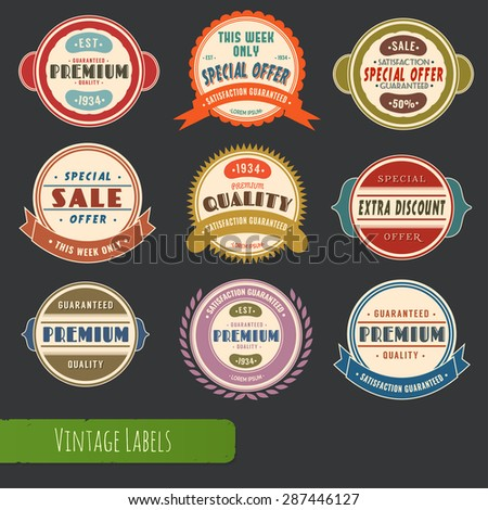Big collection of colored vintage style labels for sales, trade and business.