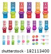 Big collection of colorful vector paper banners. Round plastic badges with ribbons. - stock