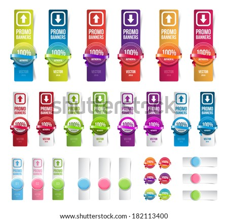 Big collection of colorful vector paper banners. Round plastic badges with ribbons. - stock vector