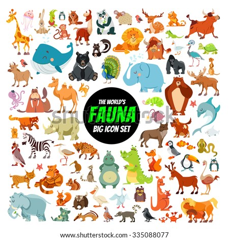 Big collection of cute cartoon animals,birds and sea creatures of the world.Big fauna of the world icon set.Vector illustration isolated on white