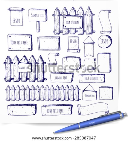 Big collection of cute pen sketch rustic background. Fences, plates, announcement boards and other objects. Hand-drawn with ink. Vector sketch illustration.