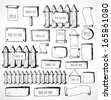 Big collection of cute sketch rustic backgrounds. Fences, plates, announcement boards and other objects. Hand-drawn with ink. Vector sketch illustration. - stock vector