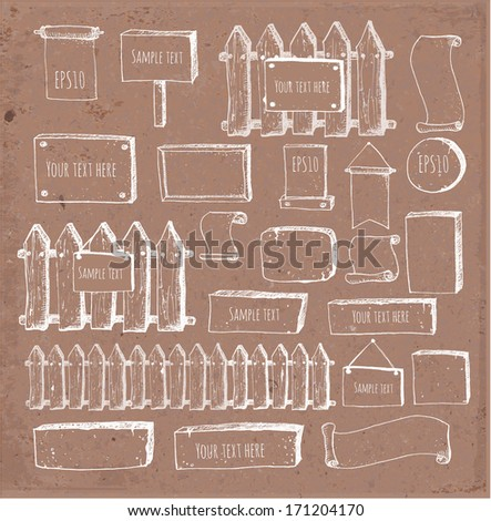 Big collection of cute sketch rustic backgrounds. Fences, plates, announcement boards and other objects. Hand-drawn on brown paper.  Vector sketch illustration.