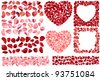 Big collection of detailed realistic rose petals. Different variations and colors, includes frames,hearts,seamless borders. For saint valentine's greeting cards, wedding, engagement invitations, etc. - stock vector