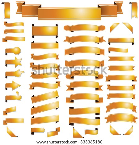 big collection of different banners colored gold - stock vector