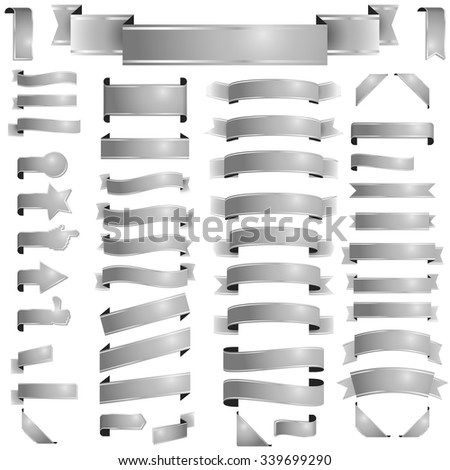 big collection of different banners colored silver - stock vector