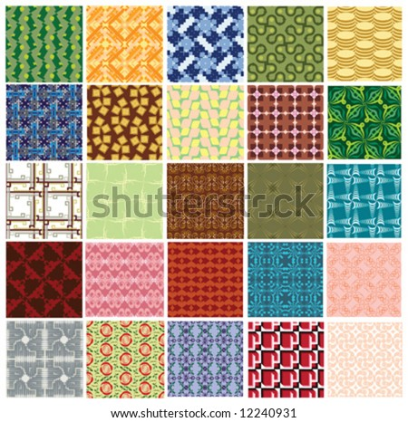big collection of 25 different colorful seamless vector pattern - stock vector