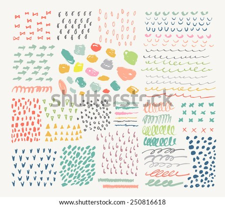 Big collection of different homemade textures made by marker. - stock vector