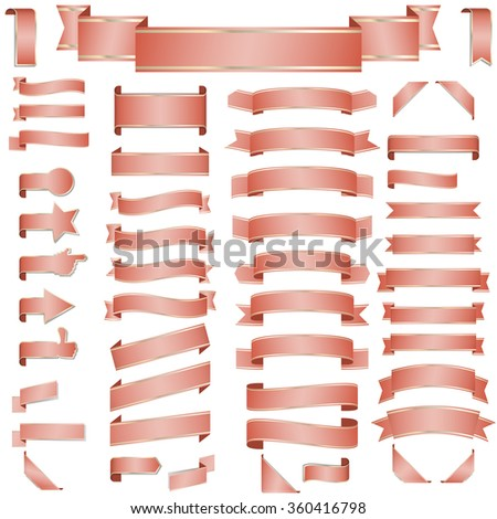 big collection of different retro banners colored red - stock vector
