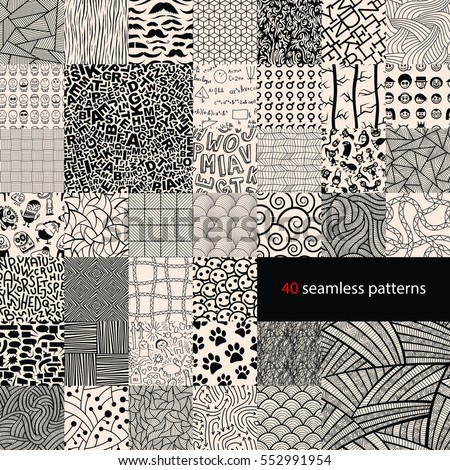 Big collection of different seamless pattern.