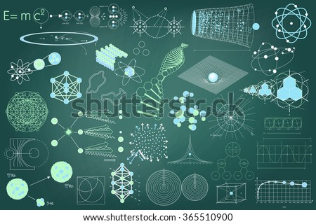 Big collection of elements, symbols and schemes of physics, chemistry and sacred geometry. The science theme.  - stock vector