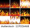 Big collection of fire elements. Fully editable EPS 8 vector illustration. - stock vector