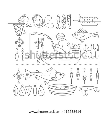 Big collection of fishing gear and other fishing related elements made in modern line style vector. Fisherman in the boat catching fish, rod, bobber, tackle and other fishing elements. - stock vector