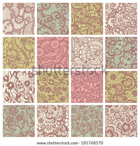 Big collection of floral lacy patterns. Lace seamless patterns with flowers on pastel background - stock vector