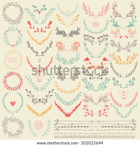 Big collection of hand drawn floral graphic design elements and lines border  in retro style. Pastel backdrop. Illustration vector.Hand drawn floral set. Pastel backdrop.  Illustration vector. - stock vector
