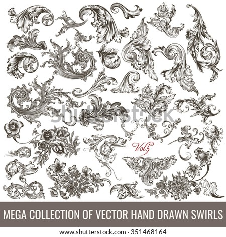 Big collection of hand drawn flourishes in engraved vintage style for design - stock vector