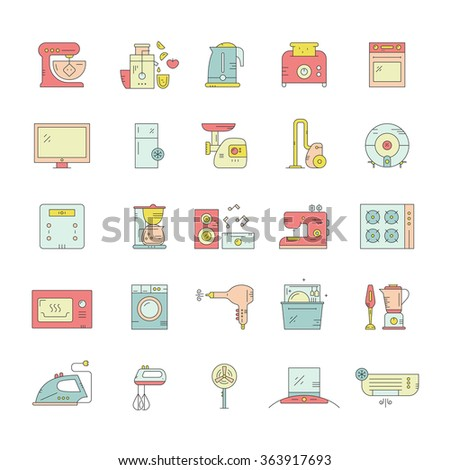 Big collection of home appliances. Kitchen appliances and technology. Dishwasher, washing mashing, fan, toaster, aircon and other house equipment.