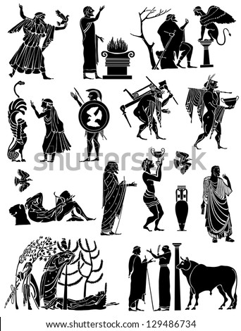 Big collection of icons in the Greek style - stock vector