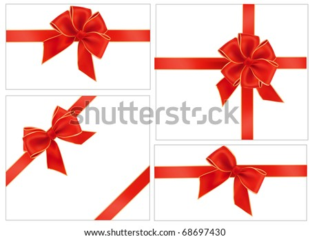Big collection of red gift bows. Vector.