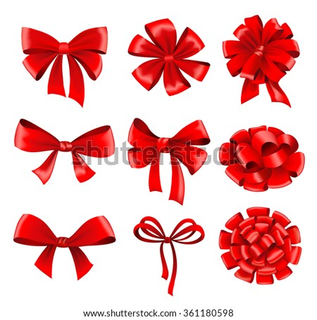 Big collection of red gift bows with ribbons. Vector illustration.  - stock vector