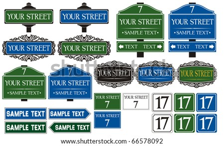 Big collection of road and street signs - stock vector