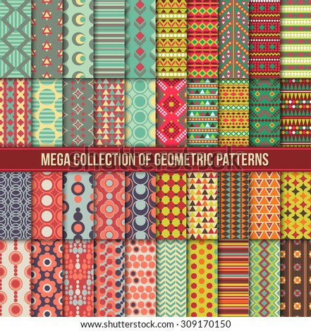 Big collection of seamless colorful retro patterns. Hipster geometric style design. Tribal ethnic motives. Vector illustration. - stock vector