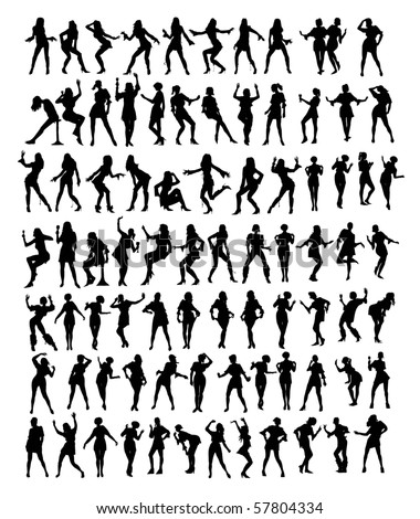 big collection of silhouettes - stock vector
