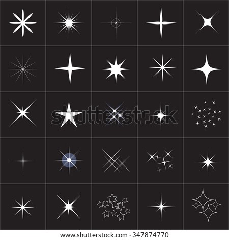 Big collection of sparkle vector. Sparkles white symbols. Sparkle star. Symbols sparkling stars. Set of sparkles star. Sparkles icon. Sparkles set. Sparkle light. Sparkling stars. Easy to use. - stock vector