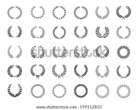 Big collection of thirty different circular black vector laurel wreaths or circlets  for heraldry  antiquity  award  victory and excellence - stock vector