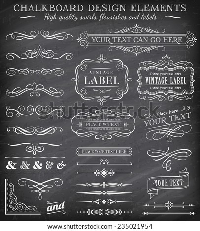 Big collection of vector decorations, swirls, banners and more vintage design elements on a detailed vector chalkboard background - stock vector