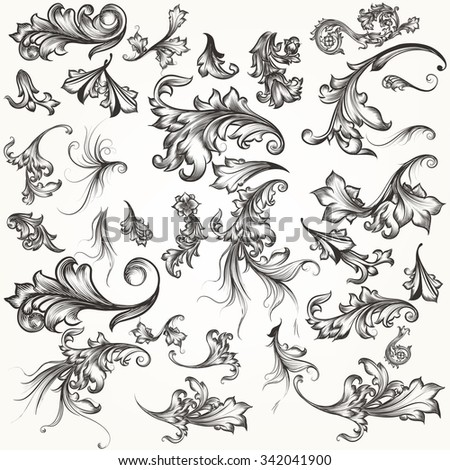 Big collection of vector filigree hand drawn flourishes in vintage style for design - stock vector