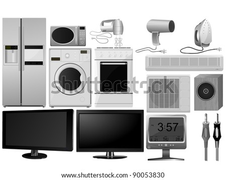 Big collection of vector images of household appliances - stock vector