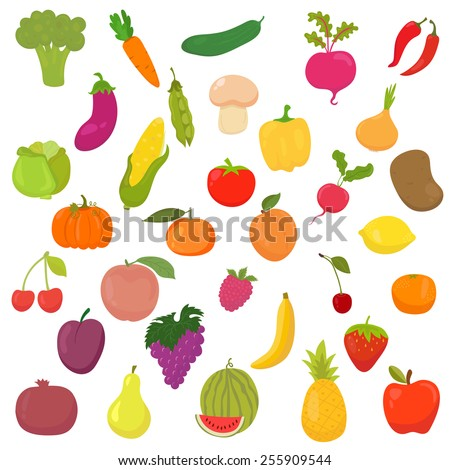 Big collection of vegetables and fruits. Healthy food. Vector illustration - stock vector