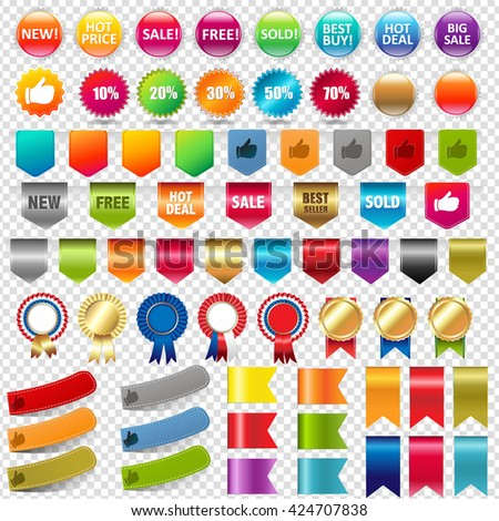 Big Collection Sale Stickers And Web Ribbons Set, Isolated on Transparent Background, With Gradient Mesh, Vector Illustration - stock vector