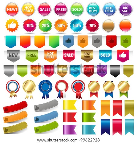 Big Collection Sale Stickers And Web Ribbons Set, Vector Illustration - stock vector